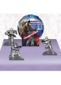 Star Wars - Happy Birthday Air-Filled Decorative Balloon Centerpiece with 4 Character Cut-Outs