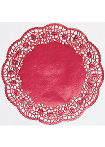 Doilies - Red 10.5in Foil Round Doilies 6pk
