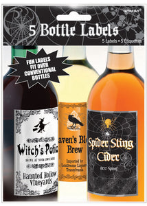 Bottle Labels - Halloween Bottle Labels 5pk