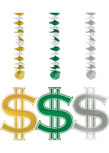 Decoration - 30in Dollar Sign Dangling Cutouts 3pk