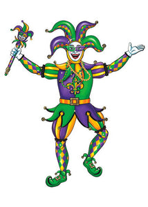 Mardi Gras Jester Jointed Cutout 39in x 36in