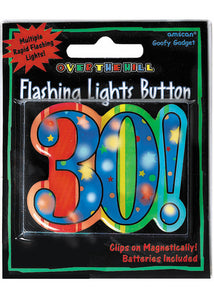 30 - A Year To Celebrate Novlety - 30th Flashing Light-Up Button