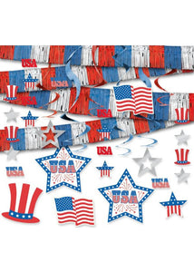 USA Patriotic 21 Piece Room Decor Kit