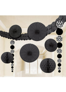 Damask - Black - Decorating Kit - 9 Piece Set