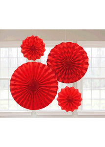 Red - Apple Red Fan - Glitter Paper Fans 4pk
