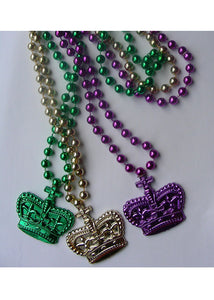 Beads - Mardi Gras Beads With Crown Pendant 3 Pack.