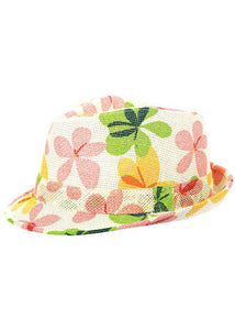 Hat - Fedora with Flower Print on Mesh Material