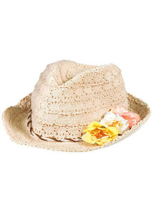 Oasis Eyelet hat with Flowers