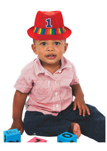 1st Birthday Novelty - #1 Fedora with Rainbow Hat Band