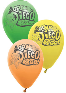 Go Diego Go Assorted Colours 12in Latex Balloons 6pk