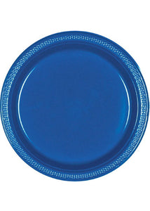 Blue - Bright Royal Blue Plate - 9in Plastic Plates - 20pk