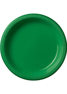 Green - Festive Green Plate - 10in Plastic Plates - 20pk