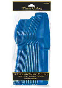 Blue - Bright Royal Blue Cutlery - Assorted - 24pk