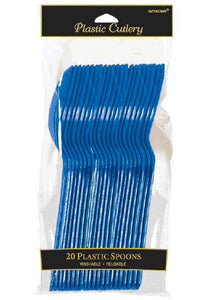 Blue - Bright Royal Blue Cutlery - Spoons - 20pk