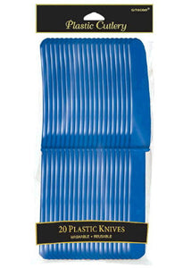 Blue - Bright Royal Blue Cutlery - Knives - 20pk