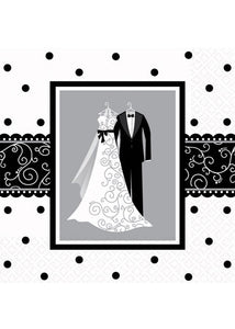 Black & White Wedding Napkins - Beverage Napkins 2ply 16pk