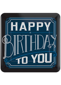 Happy Birthday Man Plate -10in Square Plates 8pk