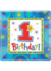 A One-Derful Birthday Boy Plate - 10.25in Square Plates 8pk
