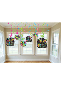 Neon Birthday Doodle Decoration - Swirl with Cutouts 12pk