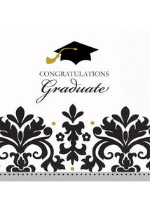 "Black and White Grad Napkins - ""Congratulations Graduate"" Beverage Napkins Value Pack 36pk"