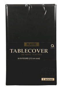 Black - Jet Black Tablecover - Round 84in