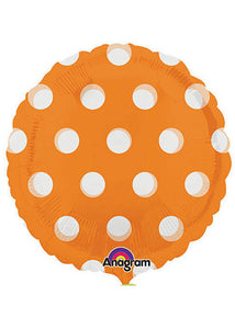 Poka Dot - Clear Orange MagiColour With See Through Dots 18in Foil Balloon