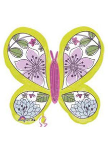 Bug - Butterfly - Floral Butteryfly SuperShape 27in Foil Balloon