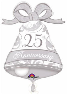 25th Anniversary Bell SuperShape 27in Foil Balloon