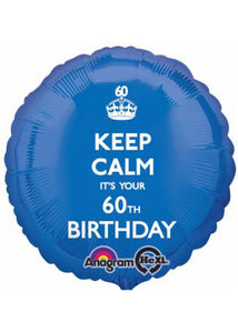 Number 60 - Keep Calm It's Your 60th Birthday 18in Foil Balloon