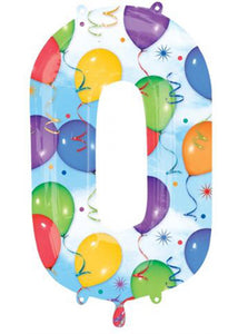 34in Balloon & Streamers Number 0 Foil Balloon