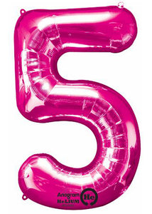 34in Pink Number 5 Foil Balloon