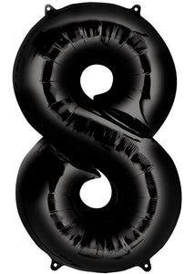34in Black (AN) Number 8 Foil Balloon