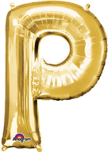34in Gold Letter P Foil Balloon
