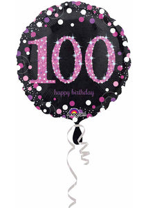 Number 100 - Pink Celebration 100 Happy Birthday 18in Foil Balloon