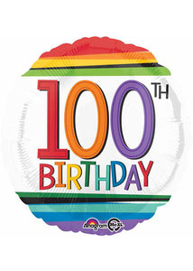 Number 100 - Rainbow Birthday 100th Birthday 18in Foil Balloon