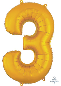 34in Gold (AN) Number 3 Foil Balloon