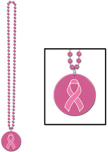 National Breast Cancer Foundation Pink Ribbon Medallion Beaded Necklace