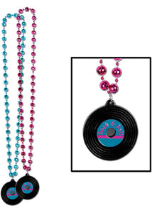 "Novelty - ""Rock & Roll"" Record 2.5in Medallion with 36in Bead Necklace"