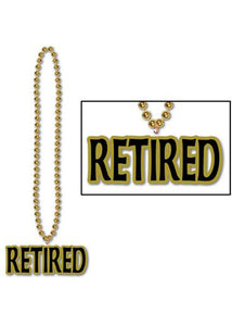 "Novelty - ""Retired"" Pendant on 36in Bead Necklace"