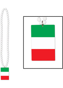 Italy - Costume Accessory - Italian Flag Medallion White Bead Necklace
