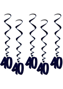 40 - Decoration - 36in Foil Whirls 5pk - Black