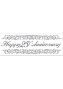 Decoration - 25th Anniversay Sign Banner 5in x 21in 9 All weather