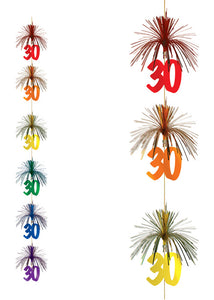 30 - Decoration - 7ft Firework Foil Stringer - Multi-Colour