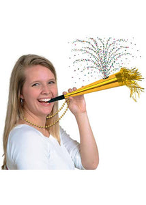 "Horn - ""Happy New Year"" Printed 12in Confetti Horn-Gold"
