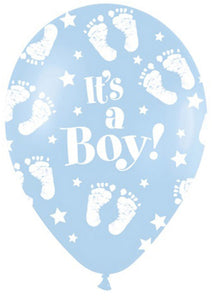 Baby Shower Boy - Baby Boy Foot It's A Boy Blue 11in Latex Balloon 50pk