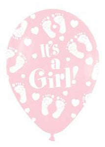 Baby Shower Girl - Baby Girl Foot It's A Girl Pink 11in Latex Balloons 50pk
