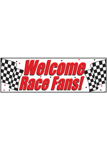 "Black & White Checks Decoration - ""Welcome Race Fans"" Plastic Banner"