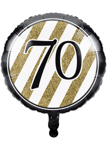 Number 70 - Black and Gold 70 Balloon - 18in Foil Balloon