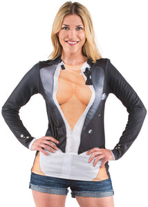 FauxReal Photorealistic Apparel - Cleavage Tux T-Shirt
