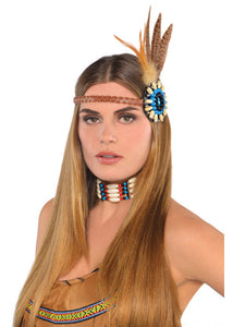 Dream Catcher Beaded Feather Headband